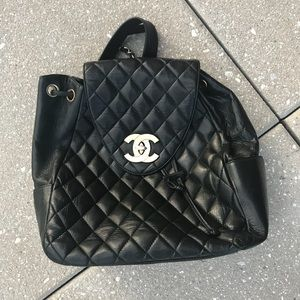 Authentic Chanel quilted leather backpack